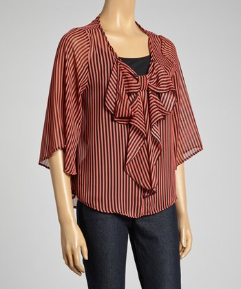 Red & Black Stripe Bow Cape-Sleeve Top - Plus