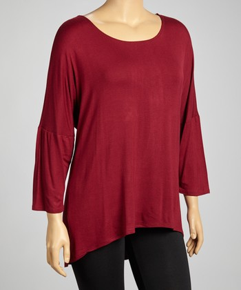 Burgundy Dolman Tunic - Plus
