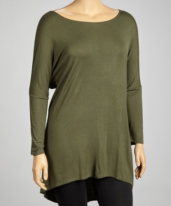 Olive Dolman Tunic - Plus