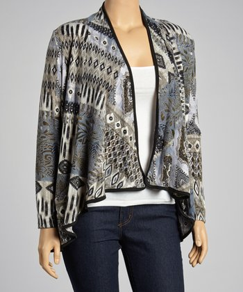 Gray & Blue Geometric Open Cardigan - Plus