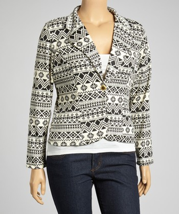 Ivory & Black Tribal Cropped Blazer - Plus