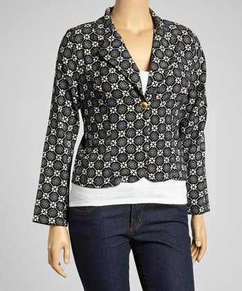 Black & Ivory Tile Cropped Blazer - Plus