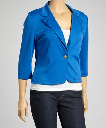 Royal Blue Three-Quarter Sleeve Blazer - Plus