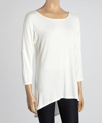 MOA Collection Ivory Scoop Neck Tunic