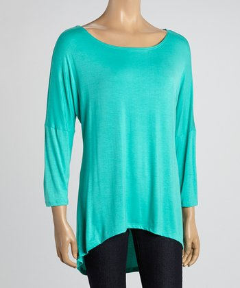MOA Collection Light Mint Scoop Neck Tunic