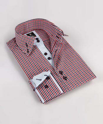 Red & Black Plaid Double Collar Button-Up - Boys