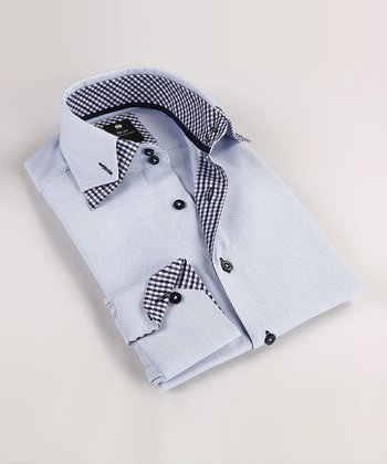Robin's Egg Double Collar Button-Up - Boys