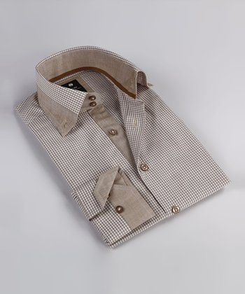 Khaki Gingham Contrast Button-Up - Boys
