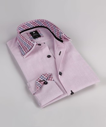 Pink Stripe Double Collar Button-Up - Boys