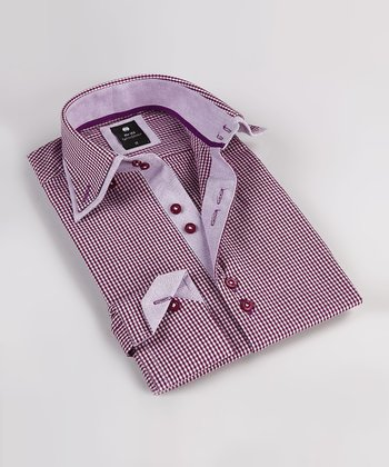 Cranberry Gingham Double Collar Button-Up - Boys
