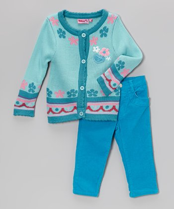 Turquoise Hearts Cardigan & Corduroy Pants - Infant