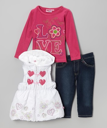 Pink Hearts Hooded Puffy Vest Set - Infant