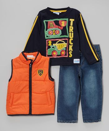Orange 'Big Boy' Vest Set - Infant