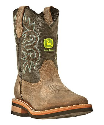 Tan & Black Cowboy Boot - Kids