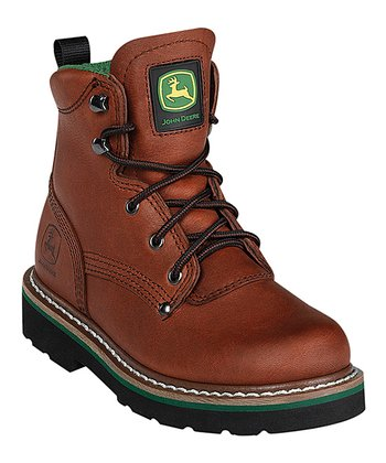 Brown & Green Lace-Up Boot - Kids