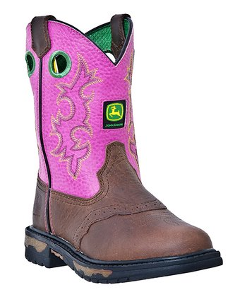 Brown & Hot Pink Eyelet Cowboy Boot - Kids