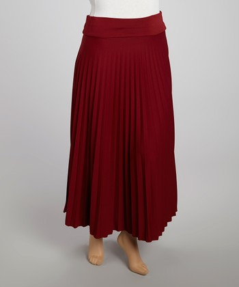Wall Street Burgundy Accordion Skirt - Women & Plus