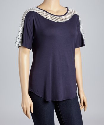 Navy Shimmer Dolman Top - Plus