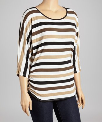 Brown & Tan Stripe Dolman Top - Plus