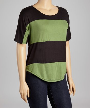 Green & Black Stripe Scoop Neck Top - Plus