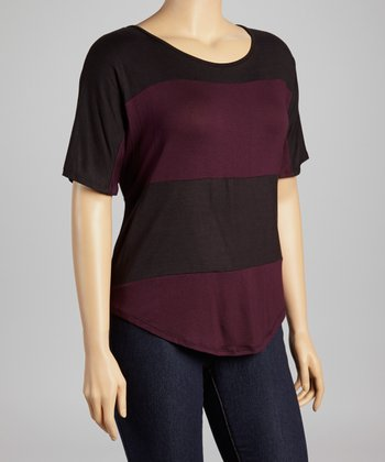 Purple & Black Stripe Scoop Neck Top - Plus