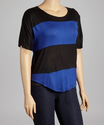 Royal Blue & Black Stripe Scoop Neck Top - Plus