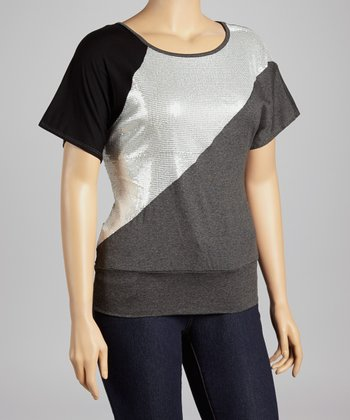 Charcoal & Silver Sequin Top - Plus
