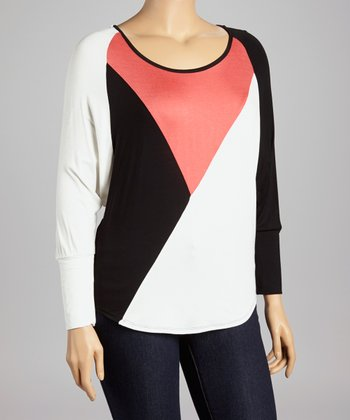 Ivory & Coral Color Block Top - Plus