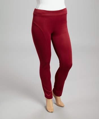 Burgundy Sheen Skinny Pants - Plus