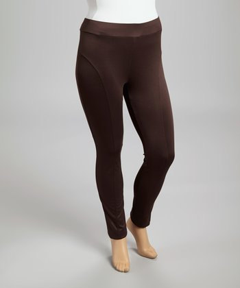 Brown Sheen Skinny Pants - Plus