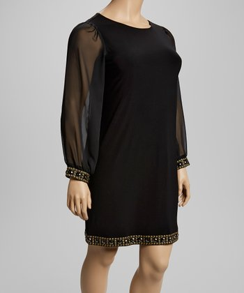 Black Beaded Sheer-Sleeve Dress - Plus