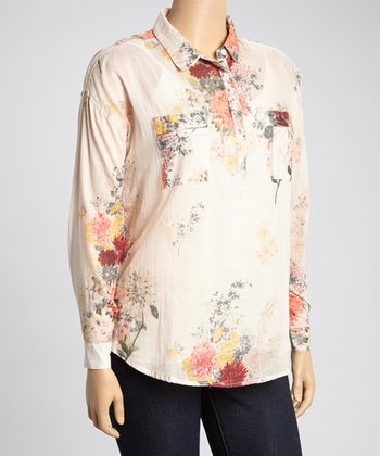 Beige & Yellow Floral Henley Top - Plus