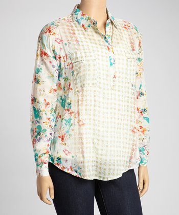 Blue & White Floral Henley Top - Plus