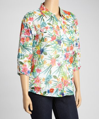 Ivory & Red Floral Button-Up - Plus