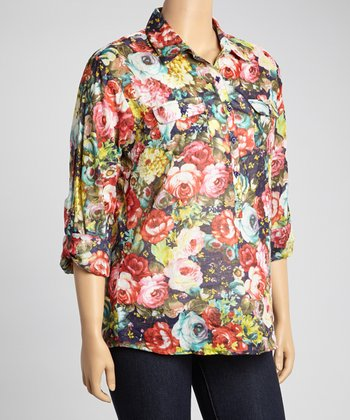 Navy & Pink Floral Henley Top - Plus