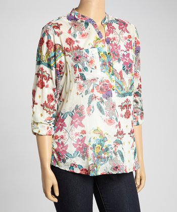 Ivory & Red Floral Henley Top - Plus