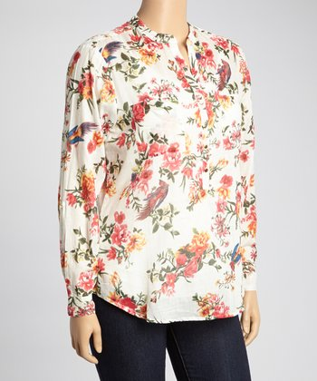Red & Green Birds Floral Henley Top - Plus