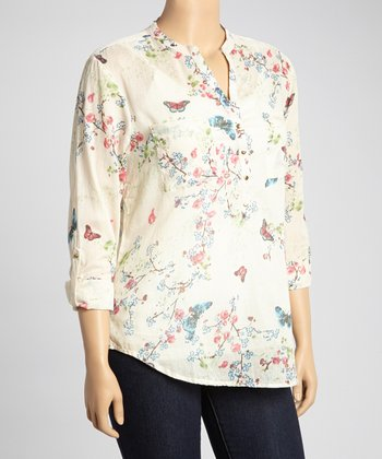 Red & Blue Butterfly Henley Top - Plus