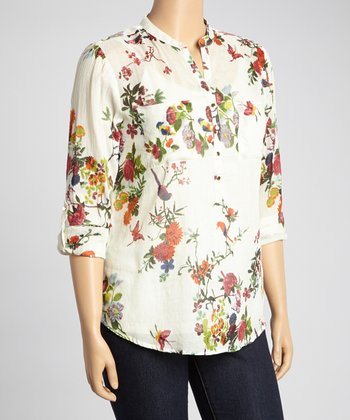 Green & Red Floral Henley Top - Plus