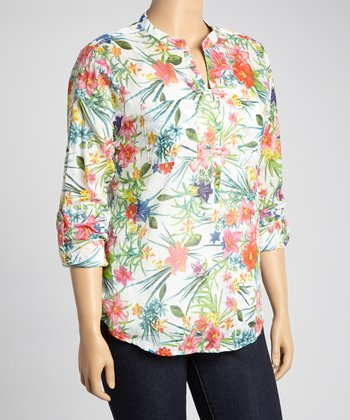 Green & Reed Tropical Floral Henley Top - Plus