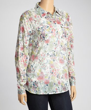Green & Pink Floral Pocket Henley Top - Plus
