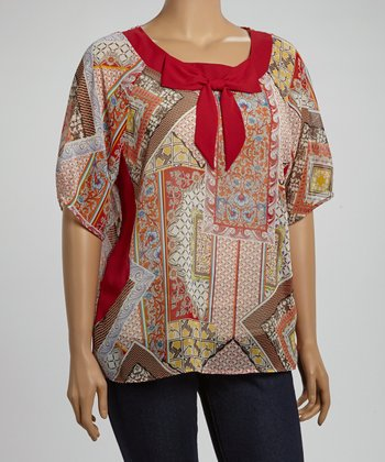 Red & Yellow Abstract Bow Collar Top - Plus