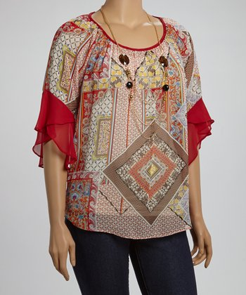 Red & White Abstract Angel-Sleeve Top & Necklace - Plus