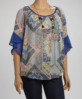 Blue & Navy Angel-Sleeve Top & Necklace - Plus