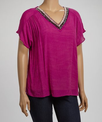 Magenta Embellished Collar Top - Plus