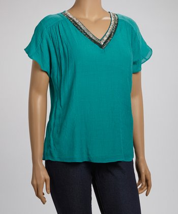 Jade Embellished Collar Top - Plus