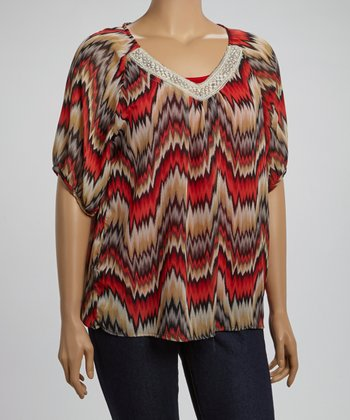 Red & Taupe Lace Collar Abstract Top - Plus