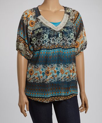 Blue & Yellow Lace Collar Abstract Top - Plus