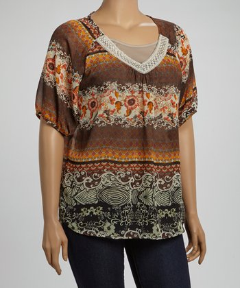 Rust & White Lace Collar Abstract Top - Plus