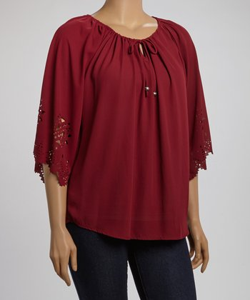 Burgundy Cutout Detail Peasant Top - Plus